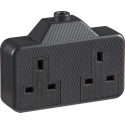 13 Amp 2 Gang Trailing Socket Black