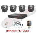 4 Channel POE 2TB | 4 Camera IP Kit | 8MP Grey