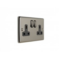 2G 13A DP switch socket black chrome