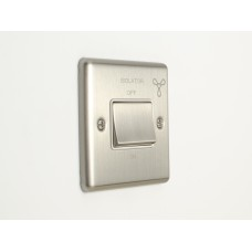 Fan isolator switch satin chrome white trim