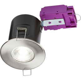 IP20 Fire-Rated Fixed GU10 Downlight Pressed Steel Brushed Chrome