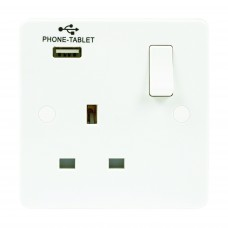 1 gang 13A switched socket 2.1A USB Profile