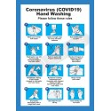 COVID19 Hand Washing Instruction Poster A4 Blue