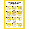 COVID19 Hand Washing Instruction Poster A4 Yellow