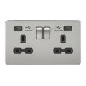 Screwless 13 Amp 2 Gang Switch Socket Dual USB - Brushed Chrome Black Insert