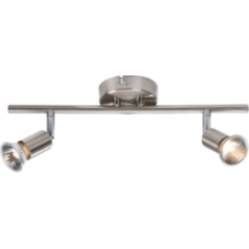 2 Spot Bar Fitting Gu10 Brushed Chromeome Including Lamps